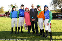 Trainer R K Watson jockeys' - Luke Dempsey (yellow cap), M P Fogarty (Black Cap) ,Sean Flanagan (blue cap) and A E Lynch (tangerine, green chevron)