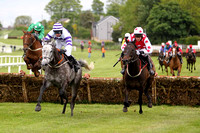 R1 - Hasaratan (6) in white and purple hoops jumps the last hurdle to win, Rider A P Thornton , Breeze with Ease 2nd (Red white spots) 2nd and Jack Apple (Green) 3rd -  CU2D9860-e