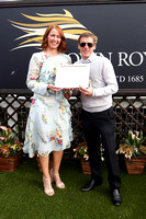 Julia Galbraith of Magners presents winning trophy to J P Murtagh winning trainer of Sankaru Royale