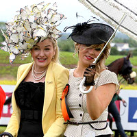 Louise Allen from Drogheda and Claudine Quinn from Newry competitors in the Best Dressed Competition at Down Royal. Claudine won the overall prize -FT8E5720-e