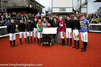 Presentation by Jonjo Bright, Reah Magee and Robert Carlise of East Antrim Hunt to the Irish Injured Jockeys Fund at Down Royal.