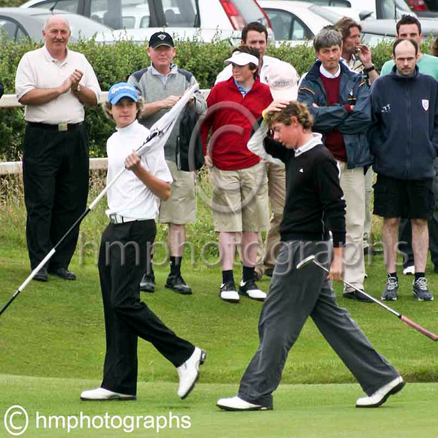 Rory McIlroy leaves the green after beating the course record at Royal Portrush during the qualifying round of the 2005 North of Ireland Amateur Championship - IMG_1478-e3
