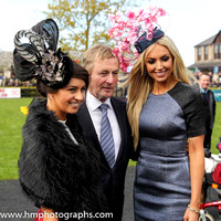 Kirsty Farrell form Newry , winners of the Best Dressed Lady Competition on Day 1 of Punchestown Festiva, Taoiseach Enda Kenny and judge Rosanna Davison