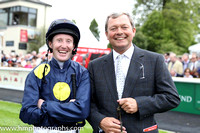 Storm the Stars Jockey Pat Cosgrave and trainer William Haggas in the parade ring at the Curragh before the Dubai Duty Free irish derby