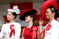 Finalists in the Most Stylish Lady competition judge at the Dubai Duty Free irish Derby Day at The Curragh