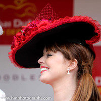 Stacey Caldwell, finalist at the Dubai Duty Free Most Stylish Lady in association with Boodles competition at the Irish Derby at the Curragh