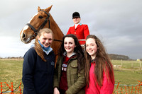 Huntsman Declan Feeney oversees friends Toni Quail, Tiarna Drake and Aimee Hamilton at Tyrella Point to Point