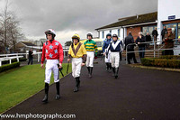 Danny Mullins, Robbie Colgan, Donagh Meyler, Ricky Doyle, Denis O'Regan on the way to the parade ring at Down Royal for the second race