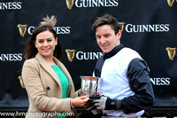 01st Bright Tomorrow and M J Bolger ( 1 , black and white hlvd ) Trainer - Mrs J Harrington , Owner - Michael Buckley.Presentatio by Katie Reid form Guinness