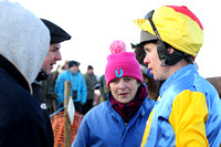 Derek O'Connor debriefs Robert , Ross and Edith Crawford father, brother and mother of Stuart Crawford trainer of Muirhead winner of Race 4 at Tyrella