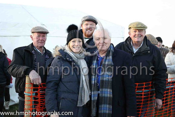 Ray Nicholas (2nd right) celebrates with friends after his horse Valmy Baie won after being left at the start at Kirkstown
